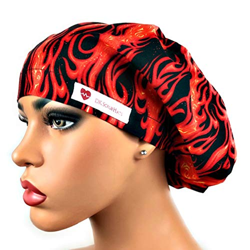 Womens Surgical Scrub Hat OR Nurse Cap Euro Style Hot Fire Flames Adjustable Bouffant Cap (Cook Womens Cap)