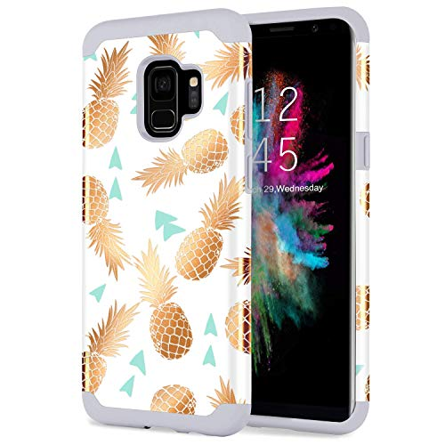 YINLAI Galaxy S9 Case, Samsung S9 Case 2 in 1 Slim Hybrid Soft Silicone Rubber Bumper Hard PC Cover with Cute Pineapple Patterns Shockproof Glossy Phone Cases for Girls Women Samsung Galaxy S9, Grey