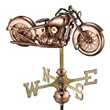 Good Directions Motorcycle Garden Weathervane with Garden Pole, Pure Copper