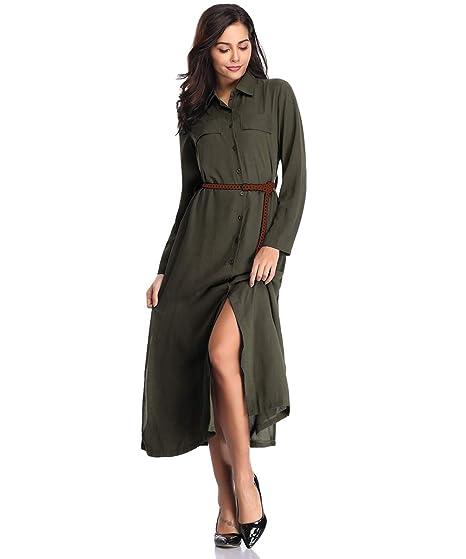 5a33d3def41c Fellissy Damen Kleider Tshirt Kleid Casual Blusenkleider Hemdkleider mit  Knöpfen sexy V-Ausschnitt Langarm Strandkleid für Alltag und Freizeit   Amazon.de  ...