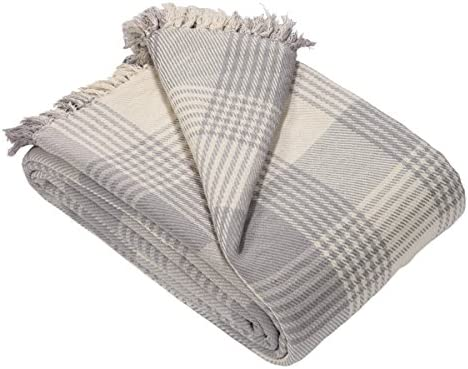 EHC Premium - Mantas para sofá (100% algodón, tamaño Grande, 150 x 200 cm), Color Gris: Amazon.es: Hogar
