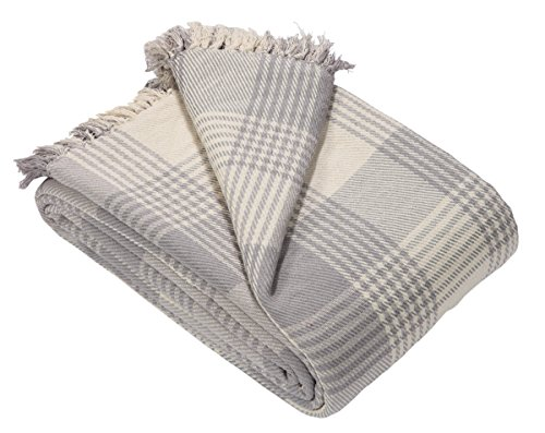 -[ EHC Premium Reversible 100% Large 225 x 250 cm Tartan Throws for Sofa, Bedspread, Cotton, Grey,