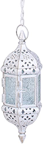ASENART Hanging Candle Lantern Moroccan Chandelier Retro Candle Holder Moroccan Vintage Metal Hollow Wedding Hanging Candle Holders Lantern Contain 40cm Chain White