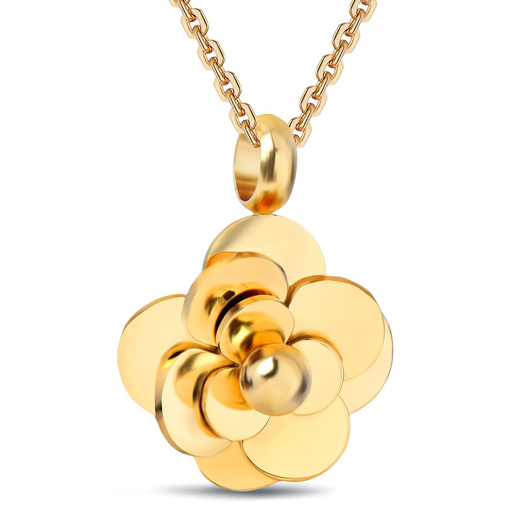 Tuji Jewelry Stainless Steel Camellia Pendant Flower Choker Necklaces for Women LTD BF1044-1