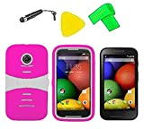 Heavy Duty Hybrid Phone Cover Case Cell Phone Accessory + Screen Protector + Extreme Band + Stylus Pen + Pry Tool For Straight Talk Tracfone NET10 Motorola Moto E XT830C (S-Hybrid Pink White)