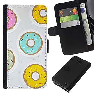KLONGSHOP // Tirón de la caja Cartera de cuero con ranuras para tarjetas - Buñuelo Teal Amarillo Rosa pastelería dulce - LG OPTIMUS L90 //