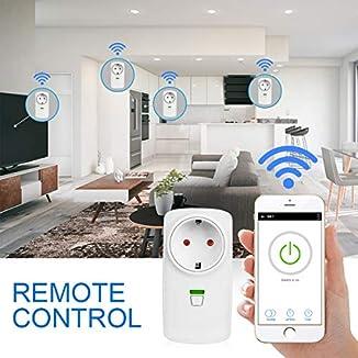 Enchufe Inteligente, Zaeel WiFi Inalámbrico Enchufe control remoto inalámbrico inteligente con función de temporización control a través de la Teléfono móvil, compatible con Amazon Alexa y Google Home