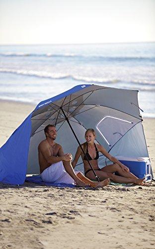 Sport-Brella Vented UPF 50+ Sun and Rain Canopy Umbrella for Beach and Sports Events (8-Foot, Blue)