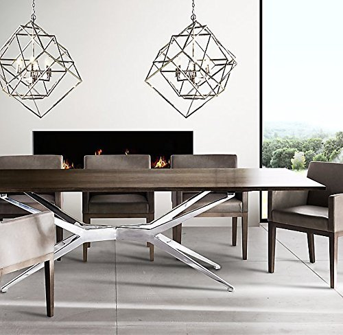 Cubist Pendant Light Iron Art Design Candle-Style Chandelier Pendant, Ceiling Light Fixture Frame Cage (Polished Nickel) 31