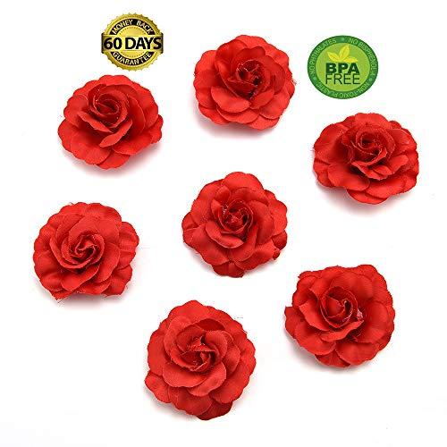 Lei Mini (fake flowers heads Artificial Silk Mini Rose Flower Head Wedding Home Decoration DIY Garland Scrapbook Gift Box Craft Fake Flower 30pcs/lot 4.5cm (red))