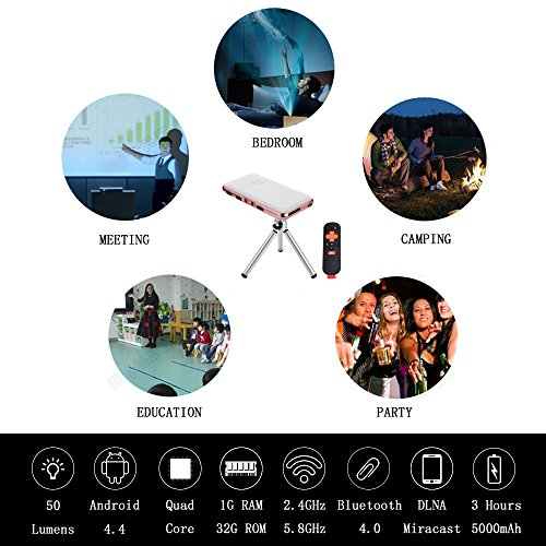 OVTECH Mini Smart Projector Android 4.4 Quad Core Portable DLP 32G+ HDMI USB Speaker Bluetooth 4.0 Support Web Browser Netflix Youtobe EShare Function+ Keystone Correction by OVTECH (Image #2)