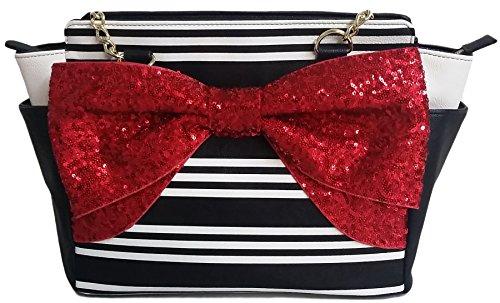 Betsey Johnson - BM19390 Large Red Bow Striped Satchel