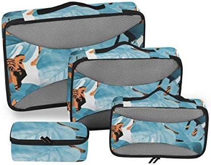 トラベル ポーチ 旅行用 収納ケース 4点セット トラベルポーチセット アレンジケース スーツケース整理 葉柄 収納ポーチ 大容量 軽量 衣類 トイレタリーバッグ インナーバッグ