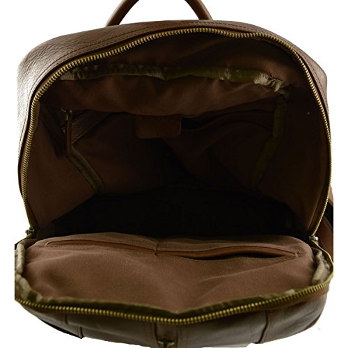 Rucksack Aus Echtem Leder Farbe Braun - Italienische Lederwaren - Rucksack
