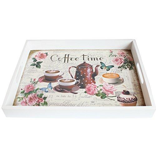 Decoración del hogar estilo vintage bandeja de madera rectangular con diseño de rosas, tazas de café y la cafetera: Amazon.es: Hogar