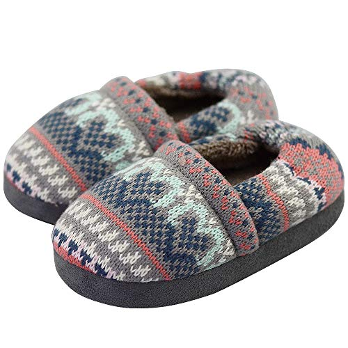 Boys/Little Kid Winter Warm The Knitting Pattern Indoor Slip-on Slippers with Hard Anti-Slipping Sole Size 13-1 US Grey ()