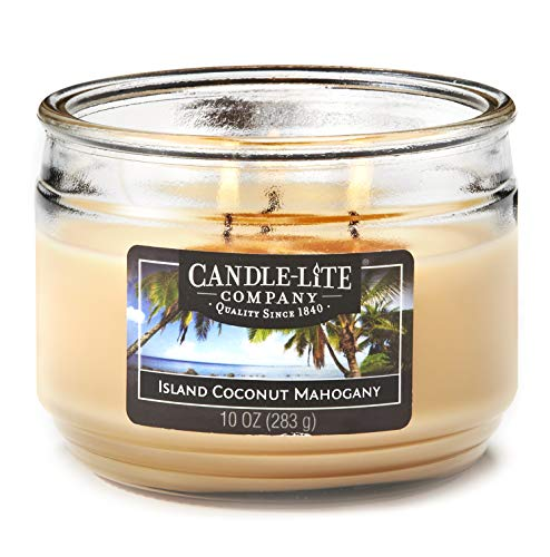 Candle-Lite Everyday Scented Island Coconut Mahogany 3-Wick Jar Candle, 10 oz, Tan