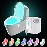 Colorful Motion Sensor Toilet Nightlight ,Oenbopo Home Toilet Bathroom Human Body Auto Motion Activated Sensor Seat Light Night Lamp 8-Color Changes(Only Activates in Darkness)