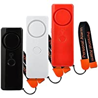 3 Pack ANRUI 125dB Personal Alarm with Led Flashlight Emergency Safety Alarms with Wrist Strap (Black + Red + White)