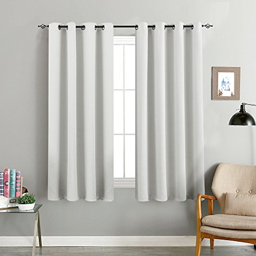 Grey Blackout Curtains for Bedroom 63 inches Long Triple Weave Window Curtain Panels for Living Room Darkening Boy Room Thermal Insulated Drapes, Grommet Top, 1 Pair, Gray