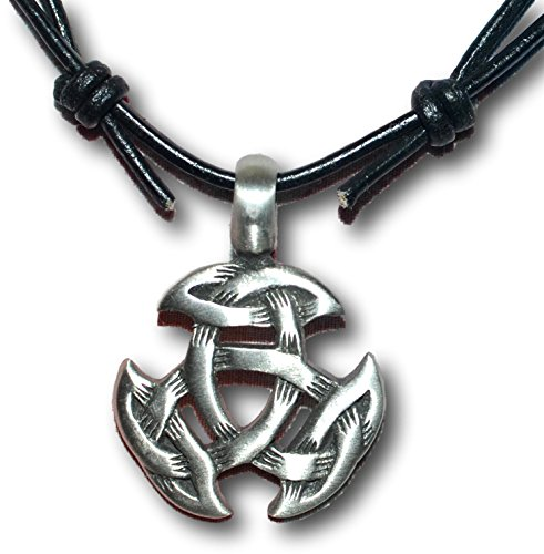 Native Treasure - Celtic Crescent Pewter Pendant Necklace - Adjustable Black Leather Cord