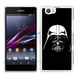 Funda carcasa para Sony Xperia Z1 Compact Darth Vader blanco y negro SW borde blanco