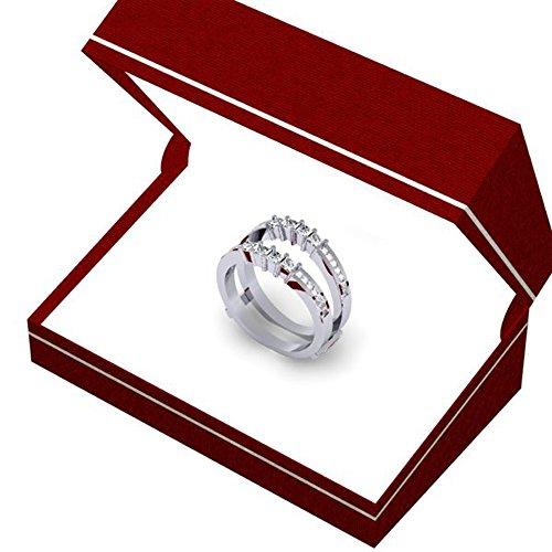 0.90 Carat (ctw) 10K White Gold Princess White Diamond Ladies Wedding Guard Double Ring (Size 7) by DazzlingRock Collection (Image #6)