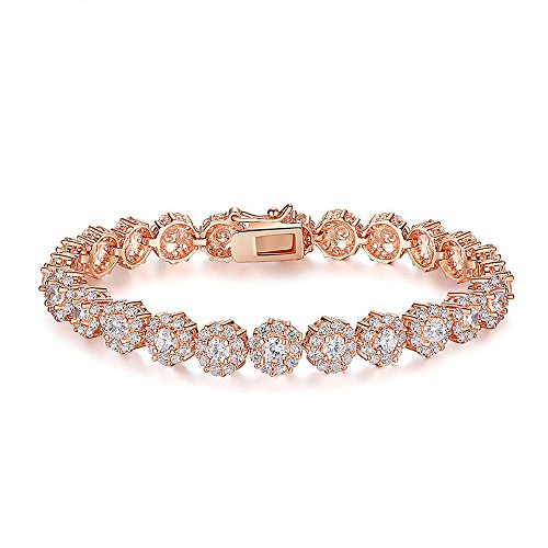 (Everrich AAA Cubic Zirconia Stones Rose Gold Plated Tennis Bracelets Diamond Bangle Jewelry for Mothers Day Gifts)