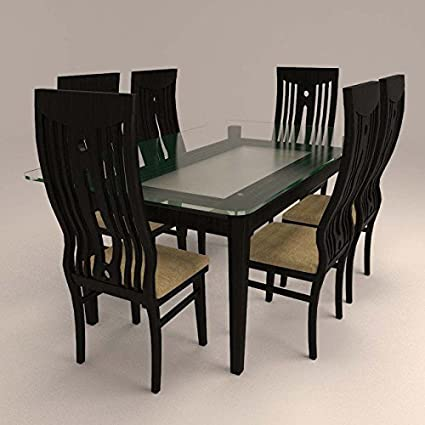 Hexagon Furnitures Curved Colonial Styled 6 Seater Dining Set With Glass Table Top Amazon In Home Kitchen