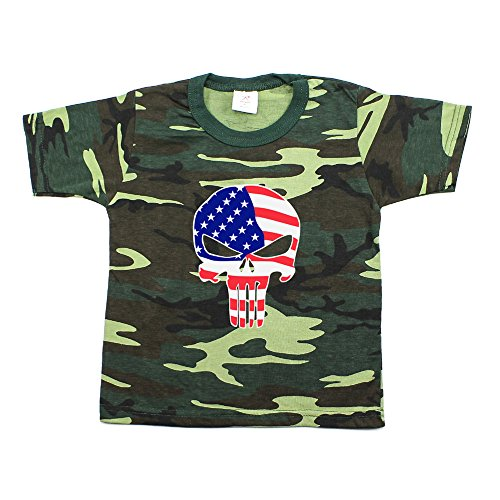 Crazy Baby Clothing American Flag Punisher Skull Toddler Short Sleeve T-Shirt in Woodland Camo, 4T ()