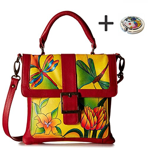 Anna By Anuschka Satchel Handbag & Purse Holder (Saddle Dragonfly Glass Painting-Yellow)
