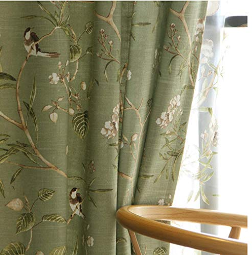Semi Blackout Curtain Panels Birds Floral Pattern Grommet Cloth Curtains for Windows Energy Efficient Country Rustic Room Darkening Window Curtains and Drapes for Living Room 1 Panel W39 x L84 inch