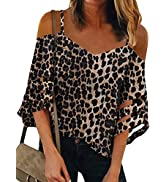 ROSKIKI Womens Summer Sexy Cold Shoulder Tops Mesh Panel 3/4 Bell Sleeve Solid Color Tees Loose F...