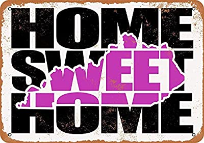 Metal Embossing Wall Sign-Home Sweet Home Kentucky Purple - Vintage Look Wall Decoration-Decorative Signage 8x12 inches