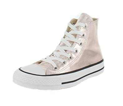 24df2561a8816d Converse Unisex Chuck Taylor All Star Metallic Canvas High Top Rose Quartz  White Black