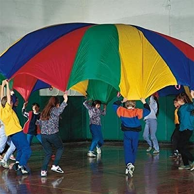 Dazzling Toys 10 Feet Parachute Multi-Color Design and 8 Handles: Toys & Games
