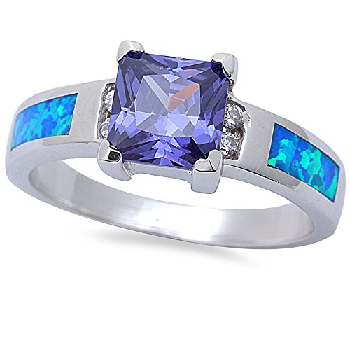 Princess Cut Simulated Tanzanite, CZ, & Lab Created Blue Opal .925 Sterling Silver Ring