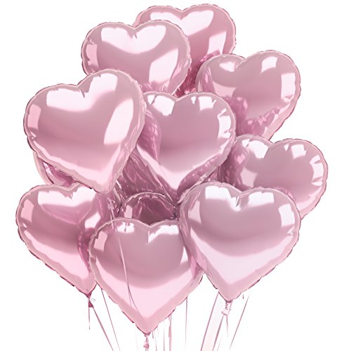 Rose Gold Heart Balloons 12 PACK Pink Valentines Day Balloons Engagement Party Decorations Wedding Birthday Love Foil Mylar Helium Balloons