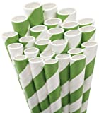 Aardvark 61520036 Paper Drinking Straw, 7/32'' Diameter x 7-3/4'' Length, Kelly Green Stripe (8 Boxes of 600)