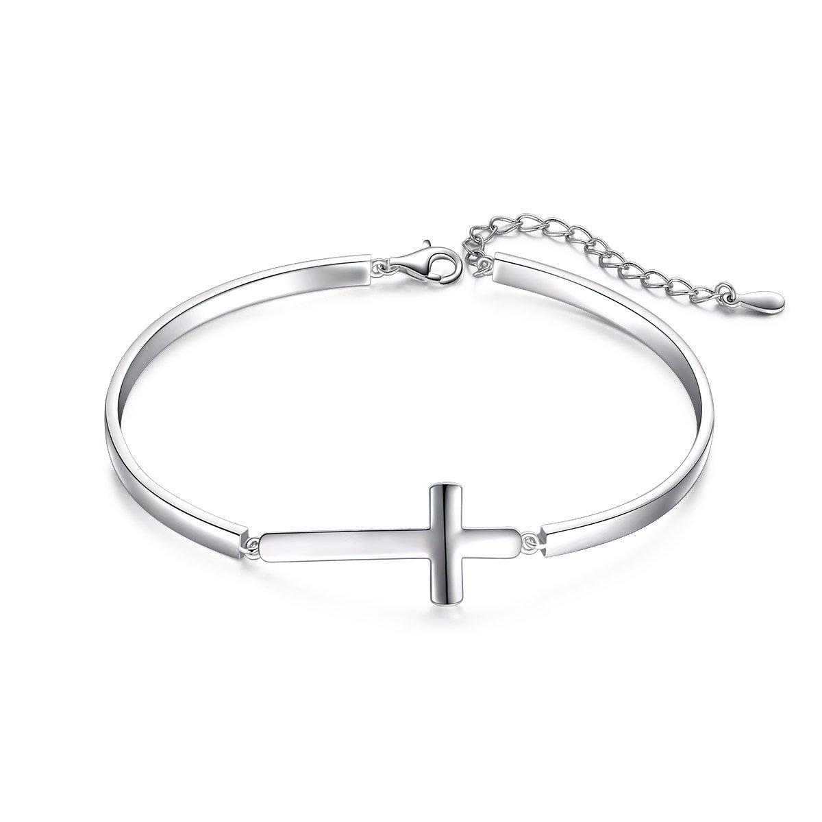 DAOCHONG S925 Sterling Silver Sideways Cross Adjustable Cuff Bangle Bracelets for Women Mother Gift