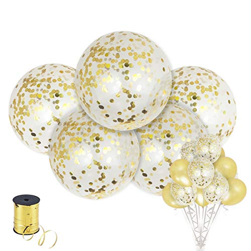 Shimmer and Confetti | 5pc 36 + 10pc 12 Large Gold Confetti Balloons with Gold Curling Ribbon | Wedding Birthday Baby Shower | Bridal Shower Balloons | Graduation Party Balloons