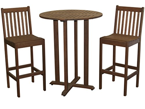 Milano Bistro (Timbo Torino Hardwood Outdoor Patio Bar Bistro Set, Brown)