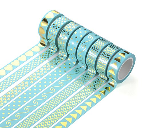 Agutape Foil Gold Washi Tape for Notebook Decoration DIY Gift Set of 8 for $<!--$9.99-->