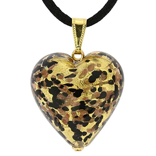GlassOfVenice Murano Glass Heart Pendant - Black Gold - Murano Glass Pendant Gold