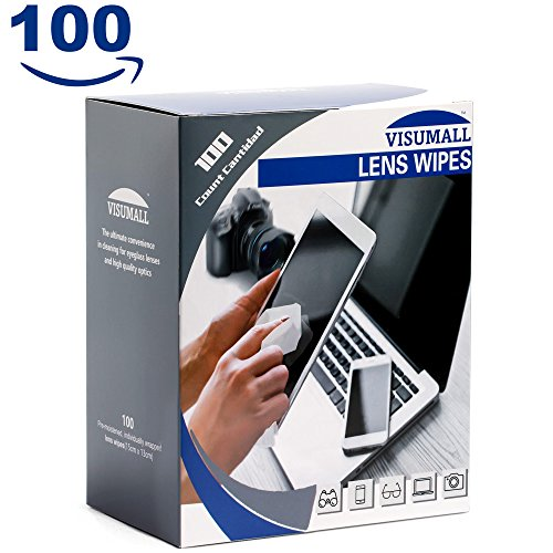 VISUMALL 100 Lens Wipes - Pre-Moistened Lens Cleaning - Removing From Glasses Lenses Scratches