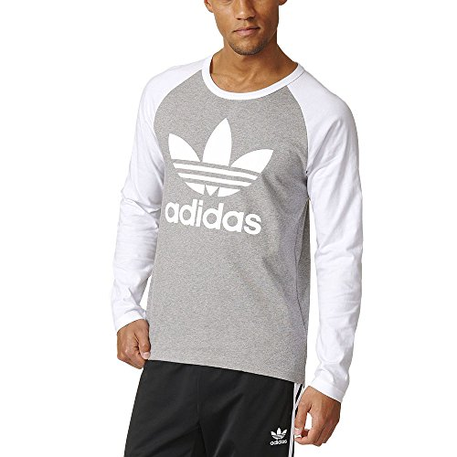 Adidas Men's Trefoil LS Tee Grey/White AY7803 (Small)