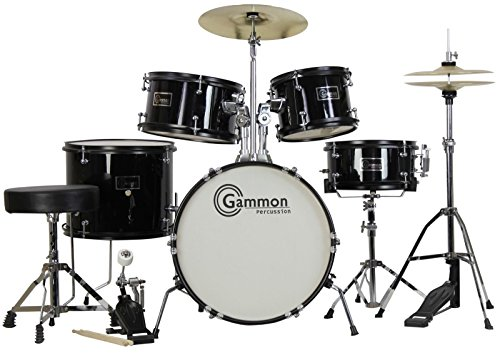 new-black-drum-set-5-piece-junior-complete-child-kids-kit-with-stool-sticks