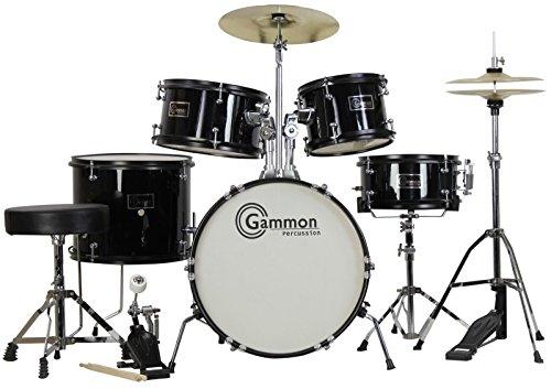 New Black Drum Set 5 Piece Junior Complete Child Kids Kit with Stool Sticks