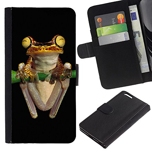 EuroCase - Apple Iphone 6 PLUS 5.5 - Cool Neon Yellow Jungle Frog - Cuir PU Coverture Shell Armure Coque Coq Cas Etui Housse Case Cover