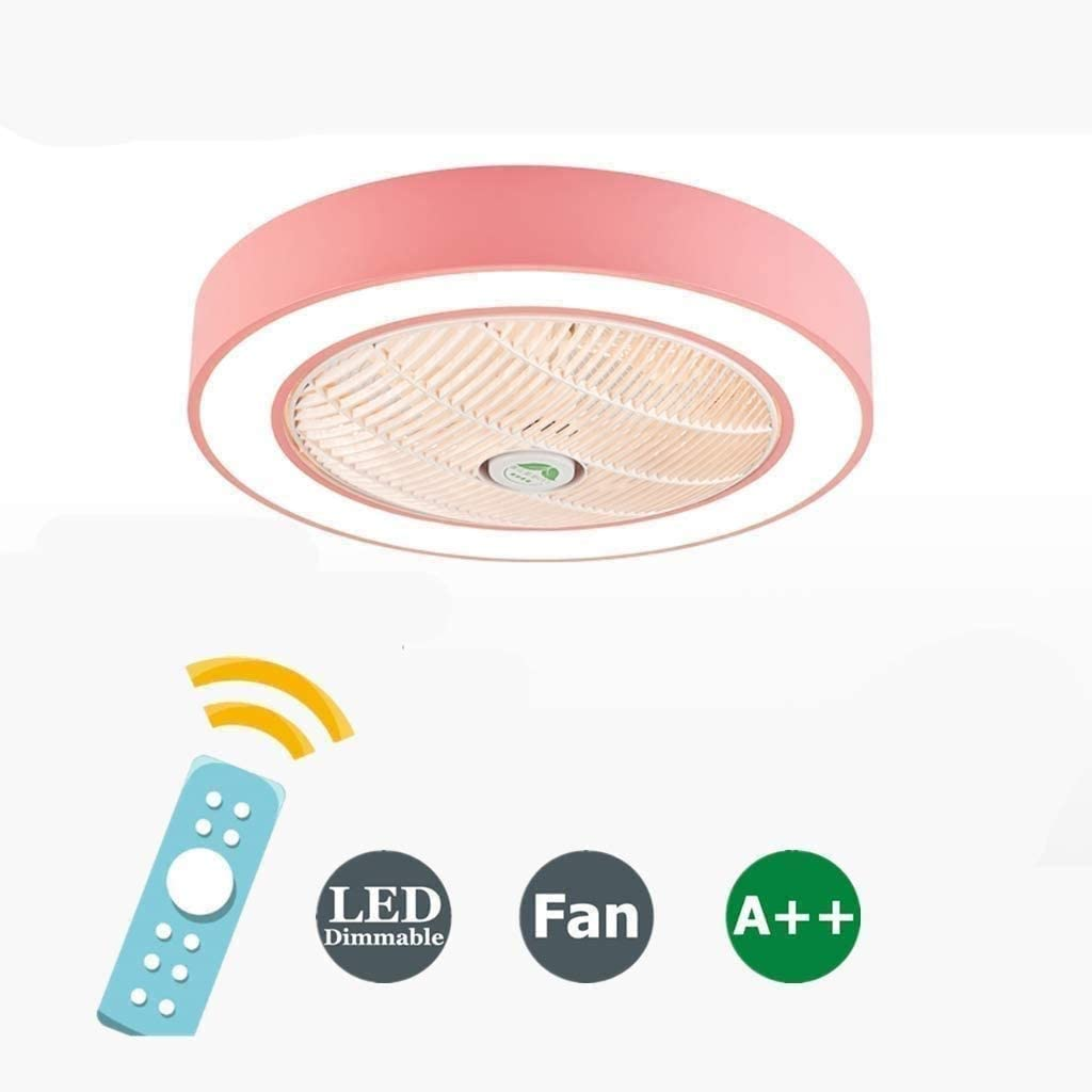 QIYUE Ventilador Ventilador de techo invisible acrílico de la hoja de metal de Shell del ventilador con la iluminación de techo de 40W iluminación regulable Con Nursery dormitorio remoto control silen